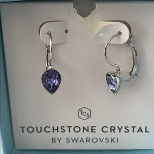 Purple Touchstone crystal earrings